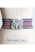 Vintage 60s 70s Boho Silver Elephant Striped Belt