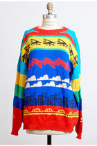 Vintage 80s 90s Airplane Knit Slouchy Sweater