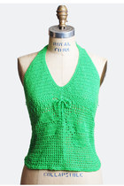70s CROCHETED HALTER TOP / Green Backless Knit Top, xs s