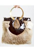 Vintage 70s Rabbit Fur PURSE / 1970s Satchel Bag