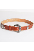 Vintage 90s Brown Buckle BELT / 1990s Silver Metal Studs & Brown Leather Belt, s