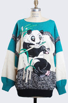 Vintage 80s Panda Bear Sweater / 1980s Animal Sweater Slouchy Knit, m l