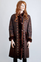 Vintage 60s 70s MOD Brown Floral Embroidered Bohemian Shearling Coat