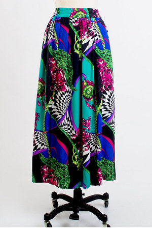 teal long silk vintage skirt