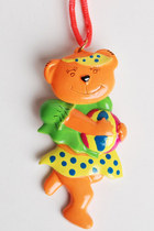 90s Neon Bear NECKLACE / Moveable Plastic Pendant Necklace