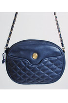Vintage 80s 90s Quilted Navy Leather Shoulder Bag