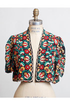 Vintage 30s 40s Silk Rayon Floral Bolero Jacket Caplet 