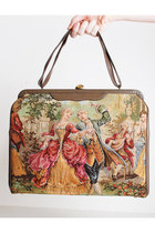 Vintage 50s French Portrait Embroidered Tapestry Handbag