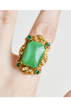 Vintage 60s Rhinestone Ring Green Glass Cabochon