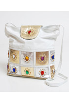 Vintage 90s White & Gold Leather Jeweled Shoulder Bag