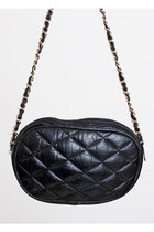 Vintage 80s 90s Quilted Black Leather Shoulder Bag