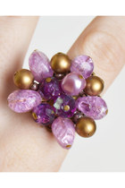 Vintage 60s OOAK Pearl Cluster Cocktail Ring / Vintage Purple Gold Bead Ring