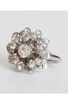 Vintage 50s 60s Silver Rhinestone Flower Ring