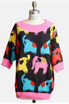 Vintage 80s Elephant Graphic Sweater / 1980s Novelty Colorblock Sweater, s m