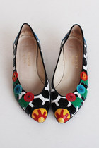 Size 8 Vintage 80s Leather Paradox Zalo Pointy Flats 38
