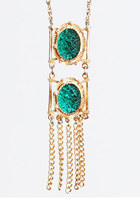 Vintage 60s 70s Gold Fringe Necklace / Green Cabochon Jewels