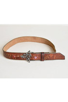 Vintage 70s LEATHER BELT / 1970s Painted Tooled Belt with Floral Buckle, s m