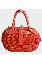 Vintage 60s Red BASKET PURSE / 1960s Straw Leather Buckle Satchel Bag