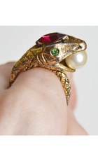 Vintage 60s Large Rhinestone Pearl Snake Ring Red Glass