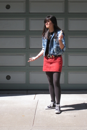 Big star skirt - thrifted jacket - vivienne westwood shirt - Converse shoes
