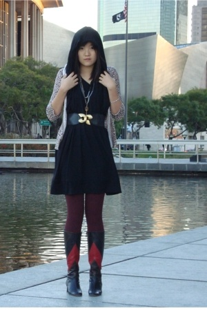 complex geometries dress - Valentino boots - belt - sweater - tights - diabless