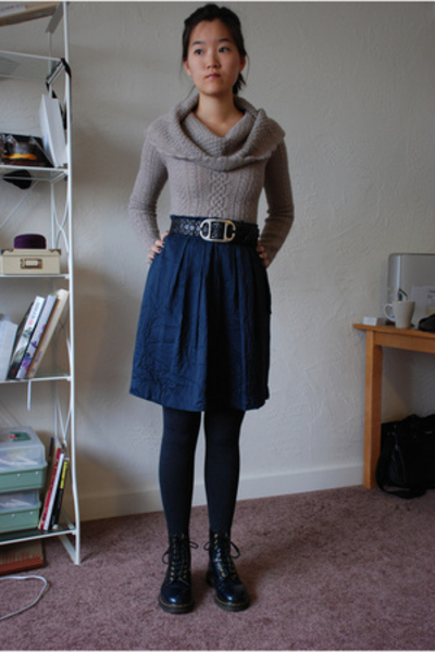 yaya sweater - banana republic skirt - Levis belt - Target tights - doc martens