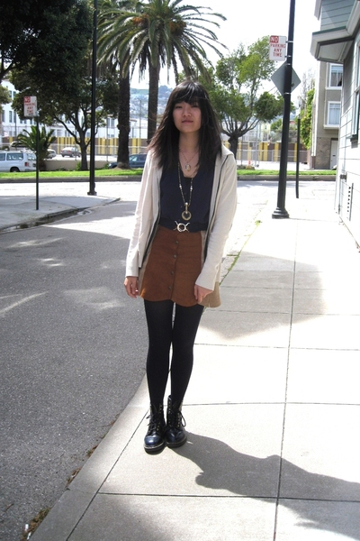 vintage skirt - forever 21 vest - Korean tights - doc martens shoes - morphine g