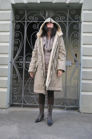 Marc by Marc Jacobs coat - yaya sweater - skirt - tights