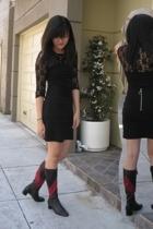 H&M shirt - forever 21 skirt - Valentino boots
