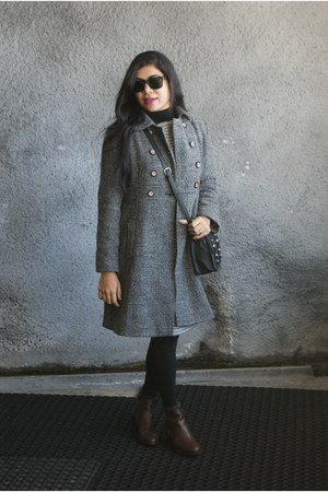 tweed Atmosphere dress - leather Forever 21 boots - tweed Mango coat