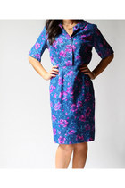 Vintage 70s VANESSA Blue Floral Dress (s - m)