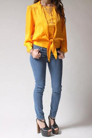 gold western shirt blouse
