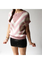 Vintage 70s MAKENZIE Chevron Pink Knit Sweater (medium)
