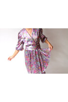 Vintage 70s ELAINE Satin Multi Floral Dress (m - l)