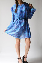 Vintage 80s MADELINE Blue Floral Long Sleeve Dress (m - l)