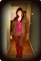 brown jacket - brown leggings - brown boots - pink blouse