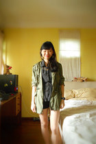 parka gmarket jacket - black Forever 21 shorts - polka dot sheer top