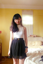 asos top - chiffon skirt - gold buckle belt - bangkok loafers