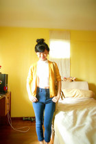 yellow cardigan - high waisted jeans - sling bag - Forever 21 earrings