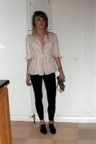 vintage blouse - Topshop leggings - allsaints shoes