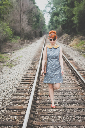 mustard handmade dress - gray Chicwish sunglasses - red thrifted flats
