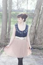 navy cotton on blouse - eggshell Lauren Conrad skirt