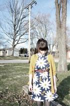white vintage dress - mustard thrifted cardigan - maroon Anthropologie belt