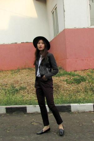 maroon Connexion pants - black leather H&M jacket - white Connexion shirt