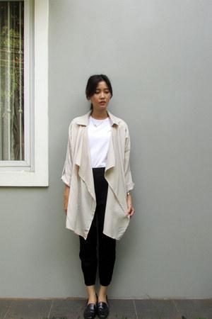 neutral waterfall Zalora cardigan - white patent H&M loafers - black H&M pants