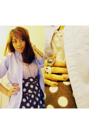 button-up Arrow shirt - H&M blouse - polka dot xhilaration skirt