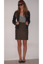 brown Eddie Bauer skirt - black Buffalo Exchange jacket - black xhilaration shoe