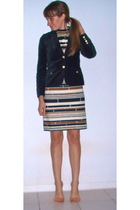 black vintage jacket - brown vintage dress