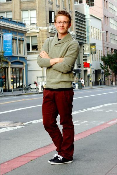 dark khaki shawl collar J Crew sweater - black Urban Outfitters shoes
