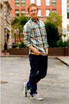 mustard plaid ben sherman shirt - sky blue plaid ben sherman shirt